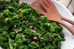 kale salad with hazelnuts in window