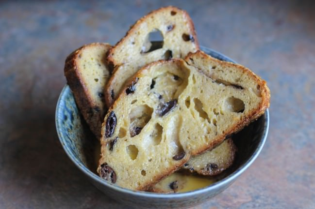 olive bread battered for french toast