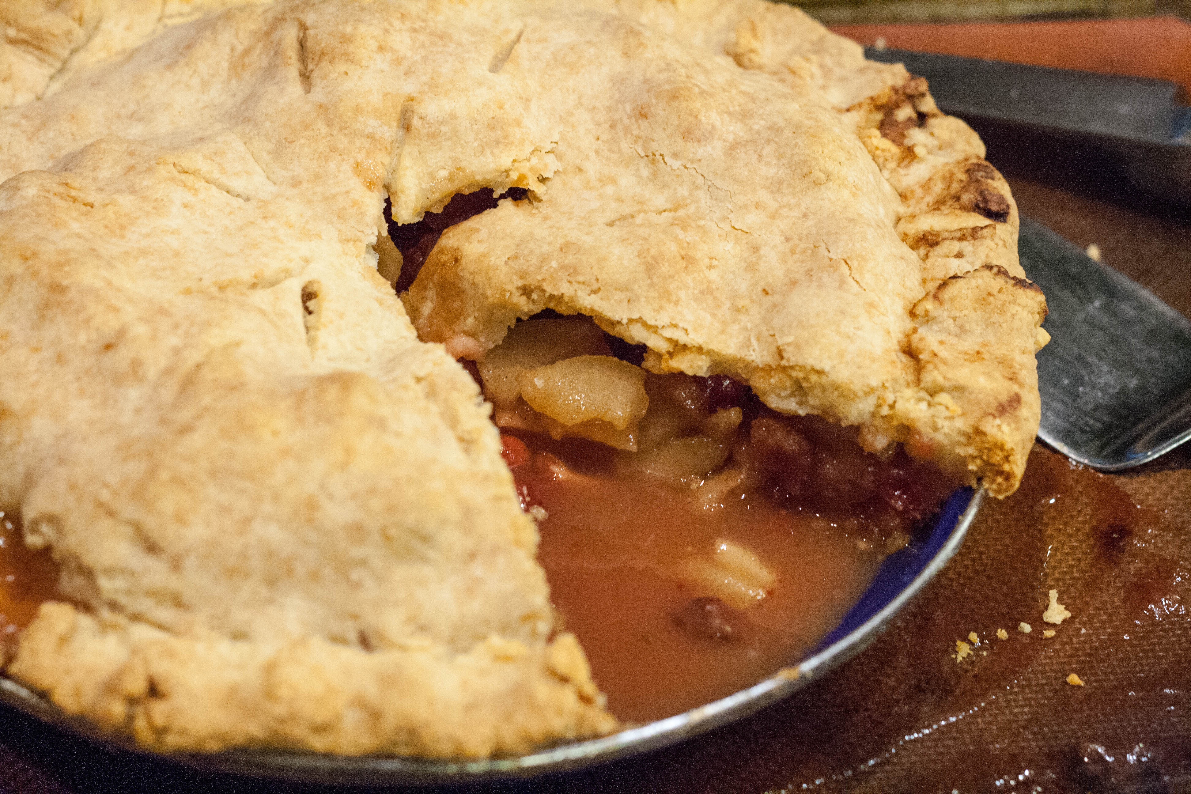 Apple Cranberry Pie with Cheese! Crust