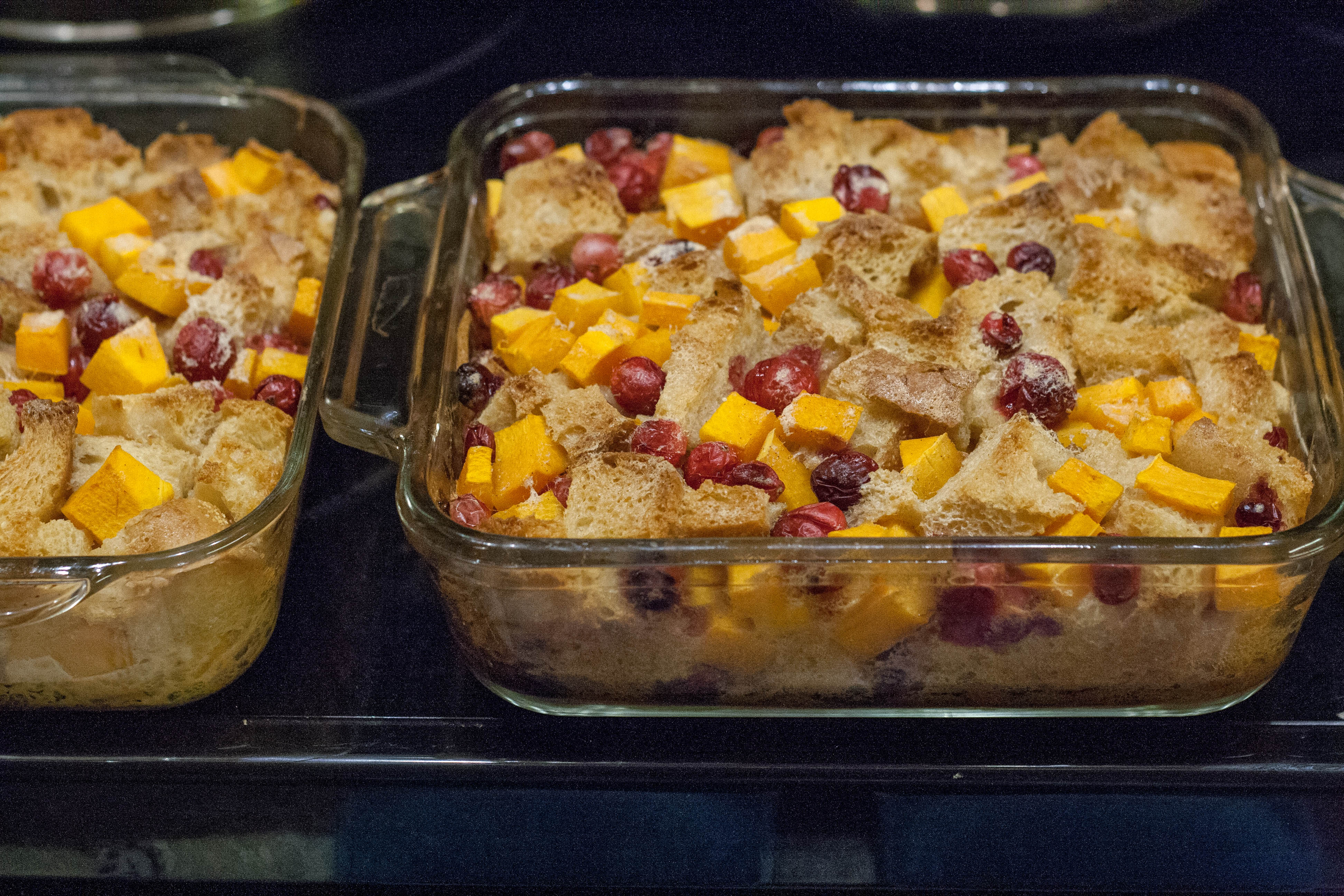 cranberry butternut squash bread pudding out of the oven