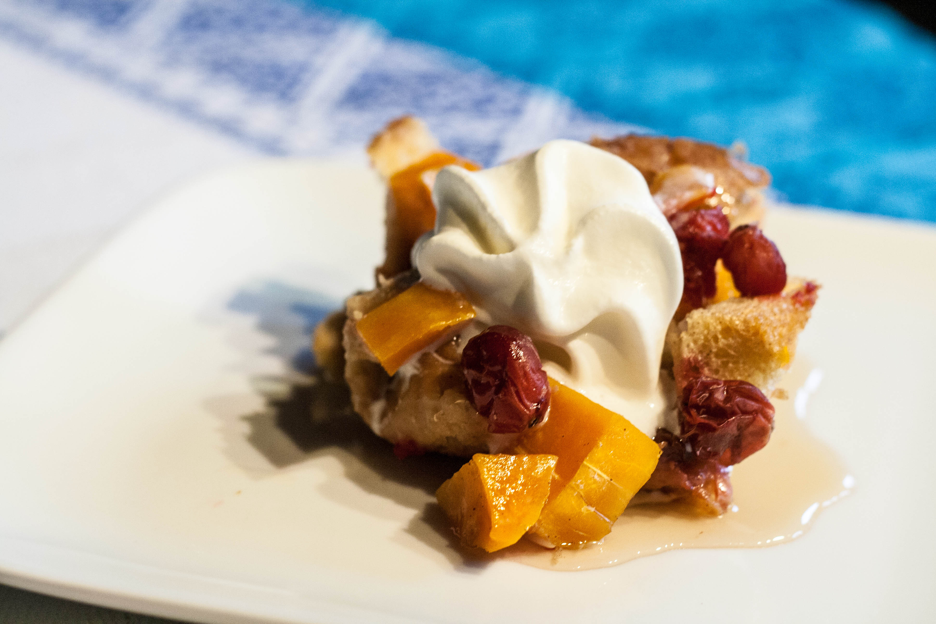 cranberry butternut squash bread pudding with maple syrup and whipped ...