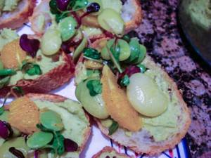 fava bean bruschetta closeup