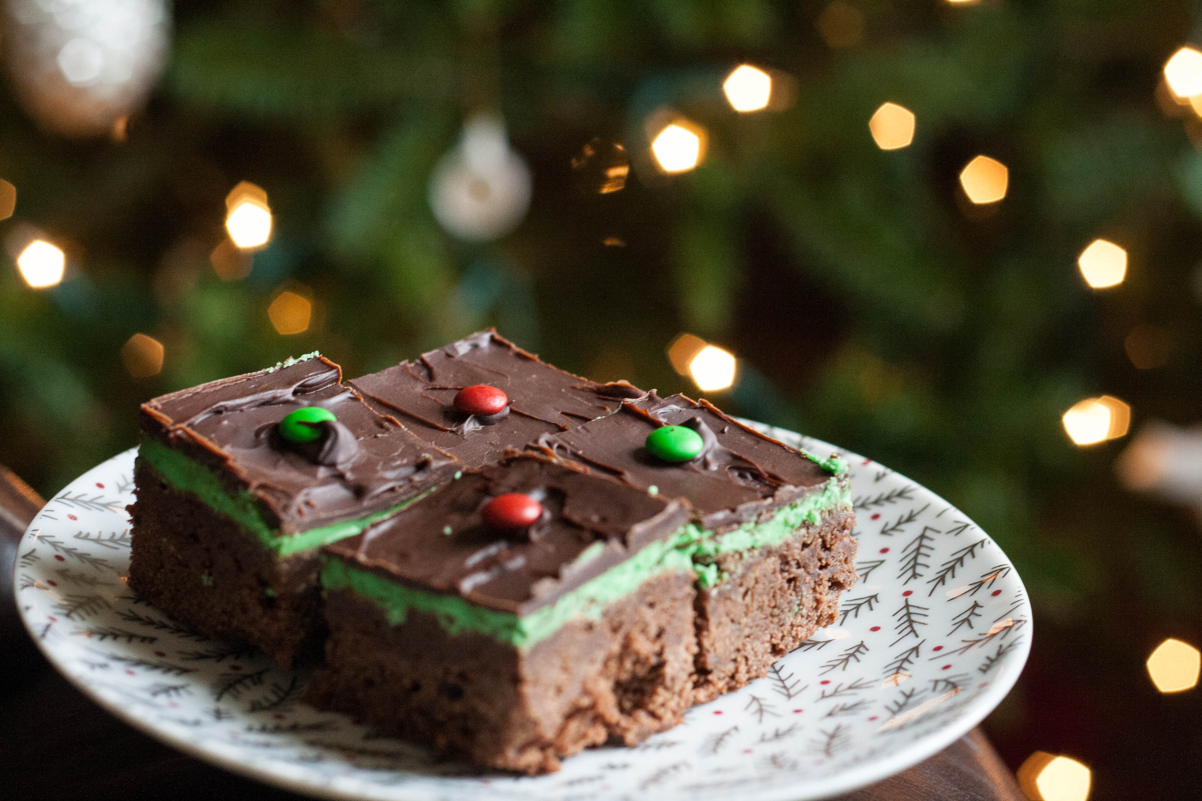 grasshopper brownies in front of christmas tree