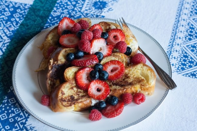 challah french toast and berries