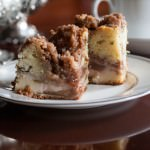 rhubarb coffee cake with crumb topping for afternoon tea