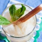 rhubarb mint julep with crushed ice