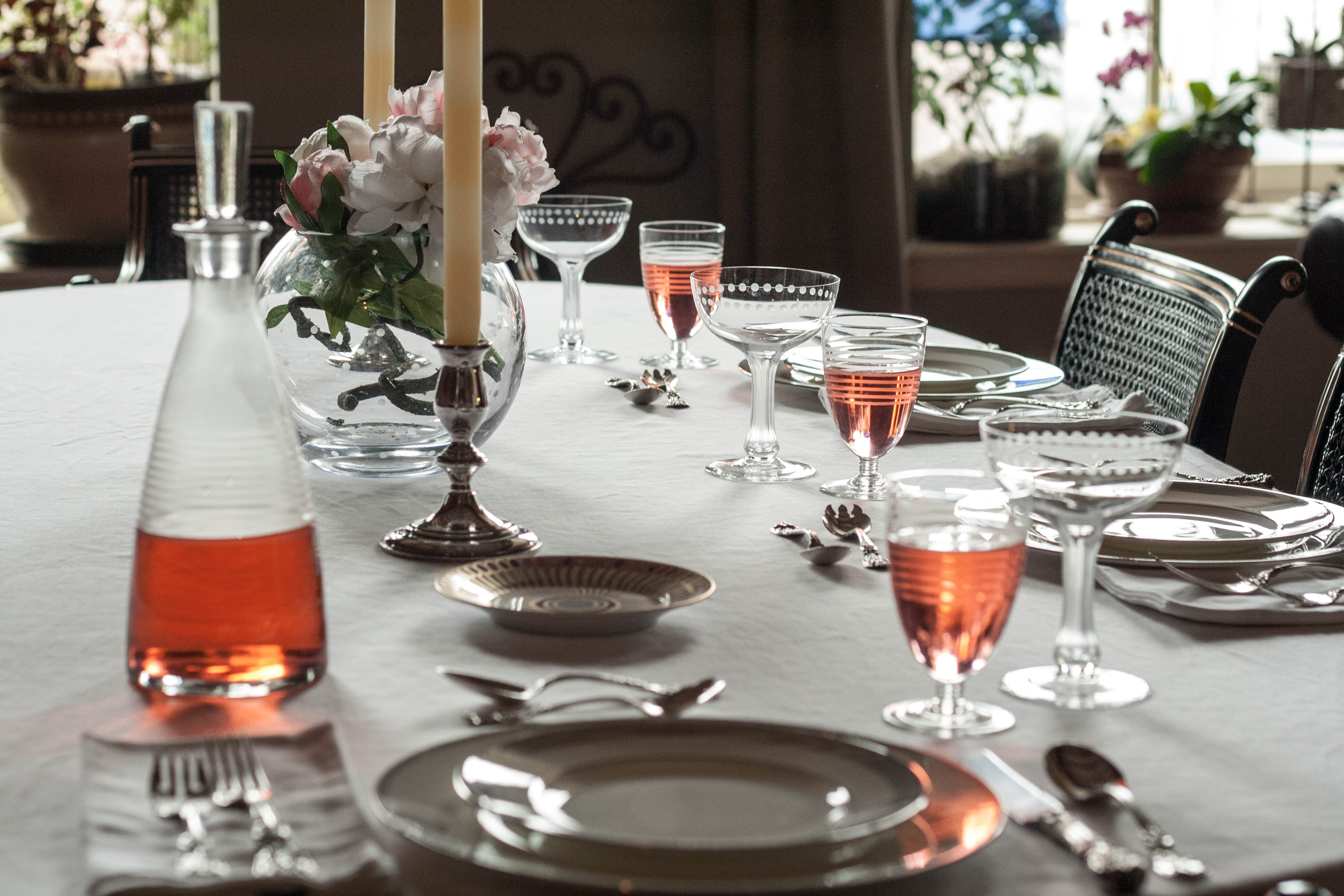 Peony Season Table Setting With French Rose In French Wine Glasses - Wine glass table setting