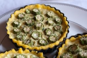 Spicy Polenta Tarts with Okra and Sweet Corn