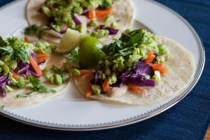 Edamame Tacos plated