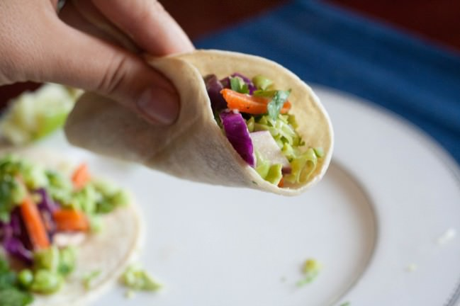Edamame Tacos with cabbage slaw