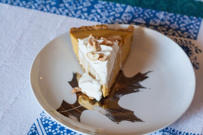 Pumpkin Butterscotch Pie with Gluten Free Cashew Crust