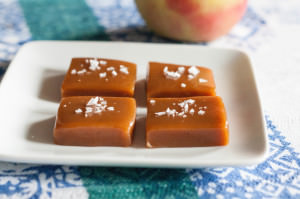 Sour Cherry Apple Cider Caramels squares with maldon