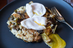 Bubble and Squeak Thanksgiving Leftovers potatoes Brussels and poached eggs