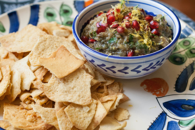 Baba Ganoush via Jerusalem with pita chips