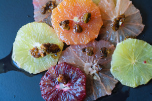 Citrus Flowers with Spicy Pistachio Brittle cara cara oranges