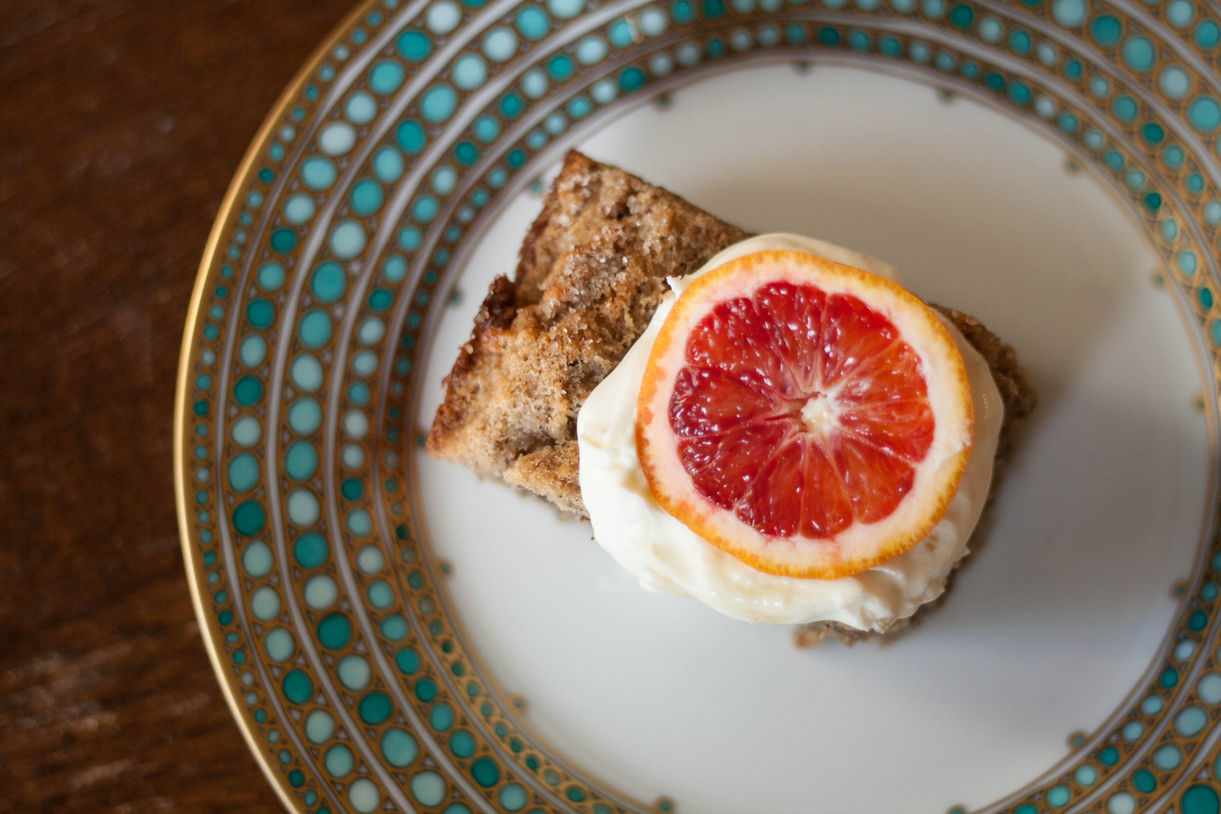 Dense Walnut Cake with blood orange