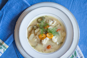 Monkfish Stew with Potatoes and Dill with golden tomatoes