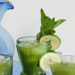 Cucumber Mint Lime Agua Fresca with mint leaves