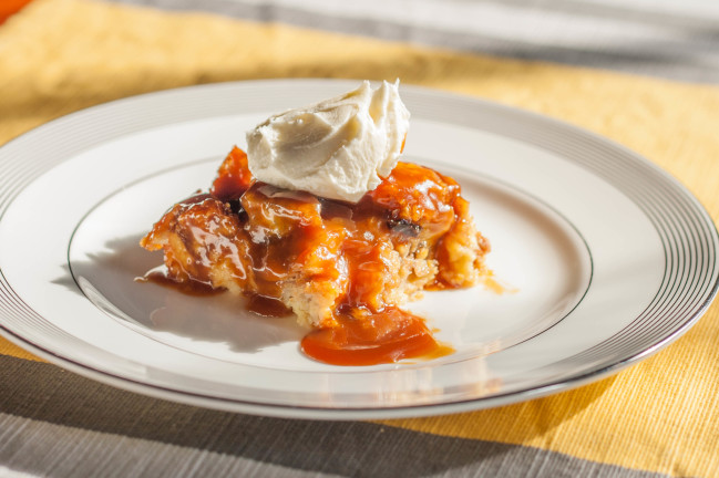 Banana Foster Brioche Bread Pudding with Caramel Sauce