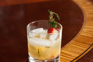 Rainier Cherry Scotch Thyme New Fashioned on ice