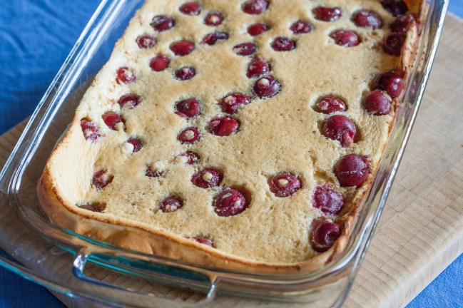 Baked German Cherry Almond Pancakes puffed up from baking