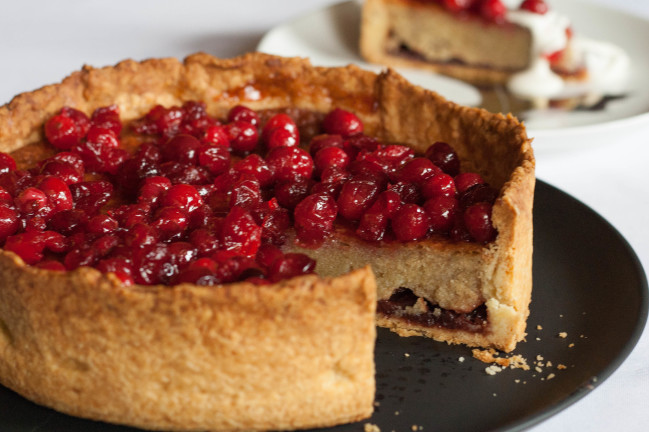 Cranberry Almond Lingonberry Torte sliced