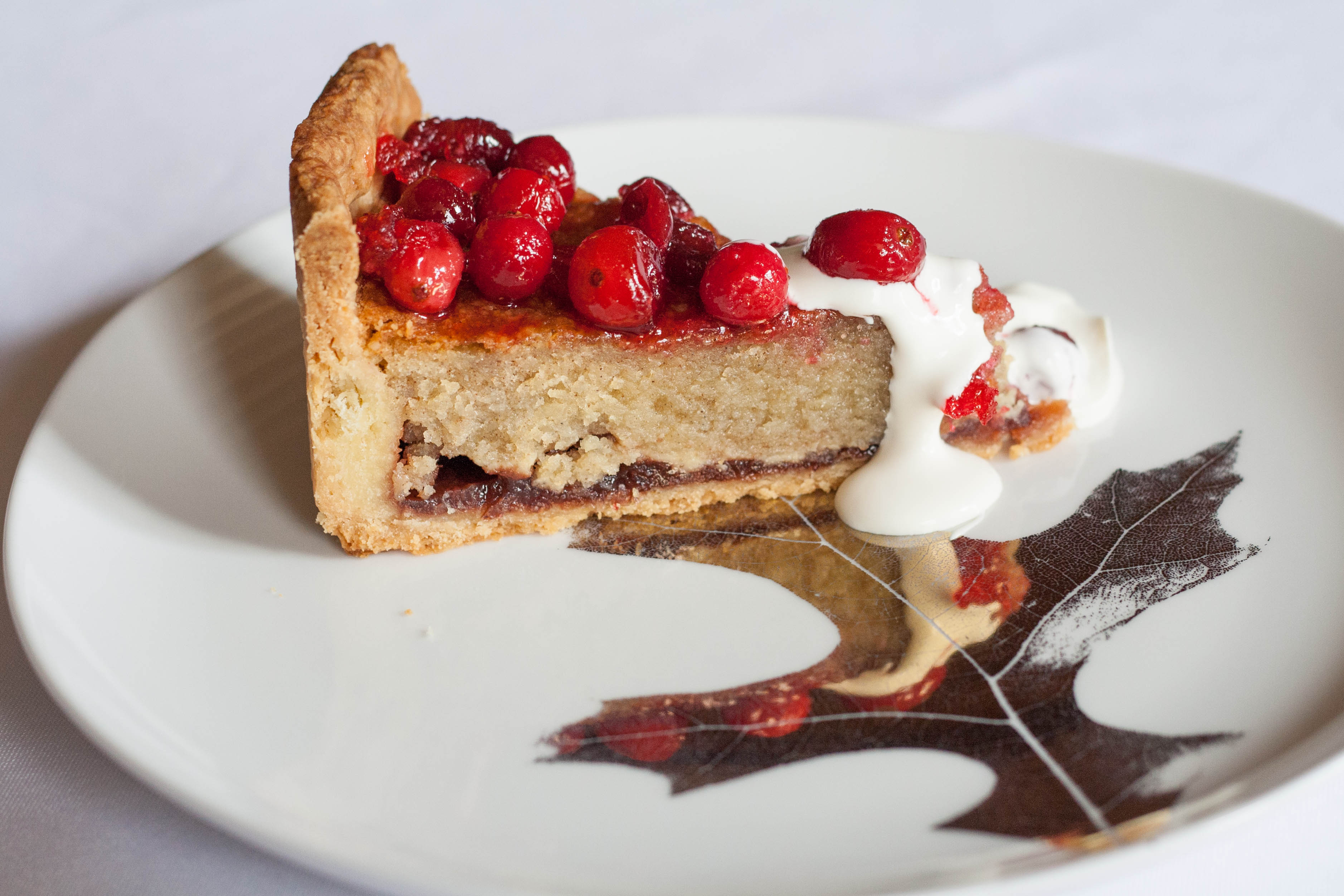 Cranberry Almond Lingonberry Torte with creme fraiche