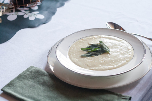 Leek Soup with Fried Sage plated