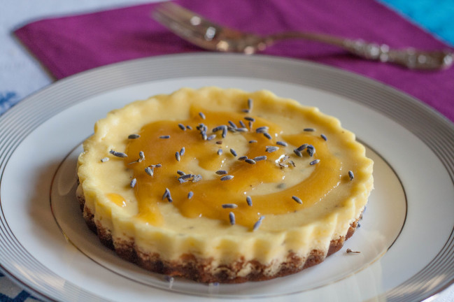 Lavender Rosemary Goat Cheesecakes honey drizzle