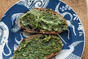 Grilled Ramp Butter on buckwheat cherry bread