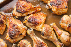 Sweet Chili Lime Chicken Thighs and Drumsticks baked